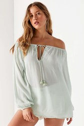 Kimchi And Blue Linda Off The Shoulder Tie Front Blouse Green
