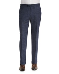 Isaia Gregory Wool Blend Delave Flat Front Trousers Navy