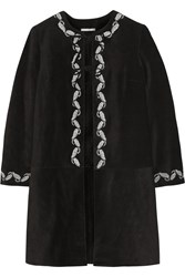 Alexa Chung For Ag Jeans The Walker Embroidered Suede Coat Black