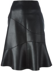 Cedric Charlier Flared Faux Leather Skirt Black