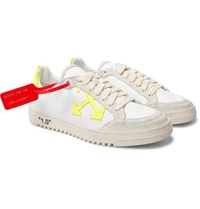 Off White 2.0 Distressed Suede Trimmed Canvas Sneakers White