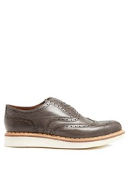 Grenson Stanley Raised Sole Leather Brogues Grey