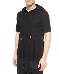 Helmut Lang Side Zip Short Sleeve Hoodie Black