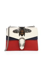 Gucci Medium Dionysus Bee Embroidered Leather Shoulder Bag Ivory Multi