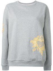 Each X Other Floral Embroidered Sweatshirt Grey