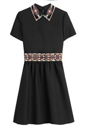 Valentino Wool Silk Dress With Embellished Collar Black