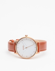 Nixon Kensington Leather Rose Gold Rose Gold White