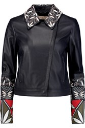 Tory Burch Embroidered Leather Jacket Navy