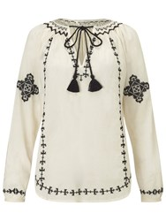 Miss Selfridge Mono Gypsy Blouse Cream White