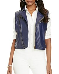 Lauren Ralph Lauren Leather Moto Vest Authentic Navy