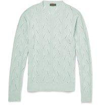 Etro Slim Fit Knitted Silk Sweater Mint