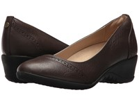 Hush Puppies Odell Slip On Dark Brown Leather Wedge Shoes
