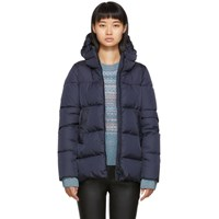 Herno Navy Down Heavy Nylon Hilo Jacket