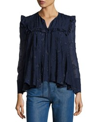 Co Embroidered Peasant Blouse Blue