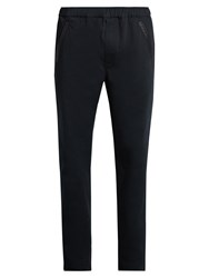 Bottega Veneta Intrecciato Trimmed Straight Leg Chino Trousers Navy