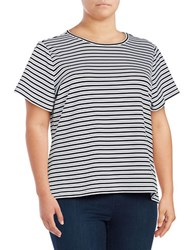 Calvin Klein Plus Textured Striped Tee White Black