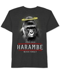 Jem Men's Harambe Graphic Print T Shirt Charcoal Heather