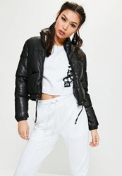 Missguided Black Cropped Faux Leather Padded Jacket
