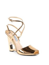 Prada Metallic Leather Cutout Heart Wedge Sandals Gold
