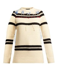 Calvin Klein 205W39nyc Loose Thread Striped Wool Sweater Cream