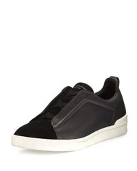 Ermenegildo Zegna Couture Triple Stitch Leather And Suede Low Top Sneaker Black
