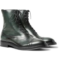 Berluti Eris Bergen Venezia Leather Boots Dark Green