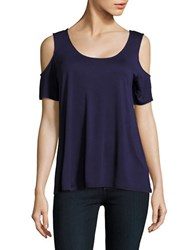 Lord And Taylor Solid Cold Shoulder Top Evening Blue