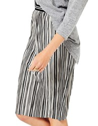 Miss Selfridge Stripe Plisse Midi Skirt Black