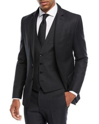 Boss Herringbone Wool Three Piece Suit Gray