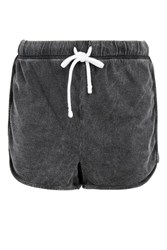 Topshop Tall Washed Stitch Runner Shorts Charcoal