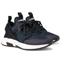 Tom Ford Jago Neoprene Suede And Mesh Sneakers Navy