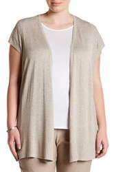 Premise Studio Ribbed Short Sleeve Cardigan Plus Size Beige