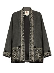 Figue Haveli Embroidered Wool And Cashmere Blend Jacket Grey Multi