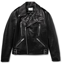 Sandro Padded Leather Biker Jacket Black