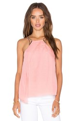 Halston High Neck Drape Top Pink