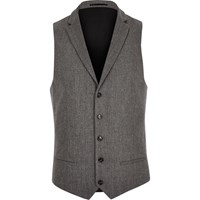 River Island Mens Grey Wool Blend Slim Fit Waistcoat