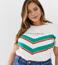 Zizzi Slogan T Shirt White