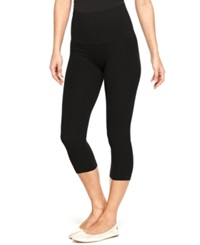 Star Power By Spanx Tout And About Wide Waistband Seamless Shaping Capri Leggings Backdrop Black