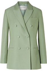 Valentino Double Breasted Silk And Wool Blend Blazer Mint