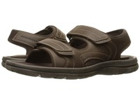 Rockport Get Your Kicks Sandals Double Hook And Loop Dark Brown Leather Men's Shoes