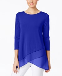 Alfani Chiffon Crossover Hem Top Only At Macy's Modern Blue