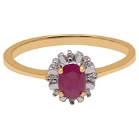 A B Davis 9Ct Yellow Gold Oval Ruby And Diamond Engagement Ring