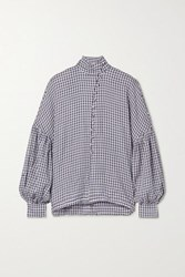 Mother Of Pearl Quinn Checked Woven Blouse Navy