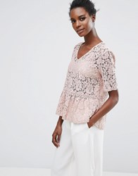 Selected Femme Rose Lace Top Rose Pink