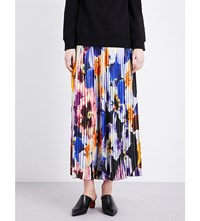 Christopher Kane Pansy Print Pleated Silk Georgette Trousers Large Pansy Allover