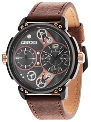 Police Gents Brown Leather Strap Watch Brown