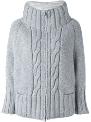 Herno Cable Knit Padded Jacket Grey