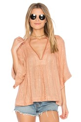 Free People Get Over It Striped Pullover Pink