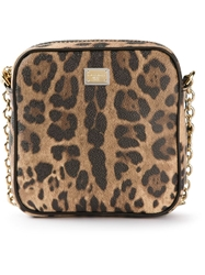Dolce And Gabbana Leopard Print Mini Shoulder Bag Nude And Neutrals