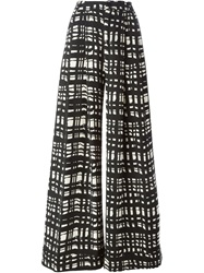 Erika Cavallini Semi Couture Wide Leg Check Trousers Black